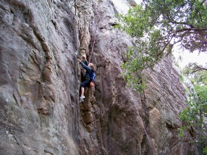 Rock climbing at Bishop Peak